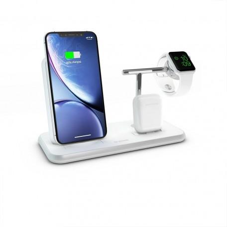 Беспроводное зарядное устройство Zens Stand + Dock + Watch Aluminium Wireless Charger 10W White (ZEDC07W/00)