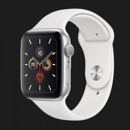 Apple Watch Series 5 44mm Silver Aluminium Case with White Sport Band (MWVD2)