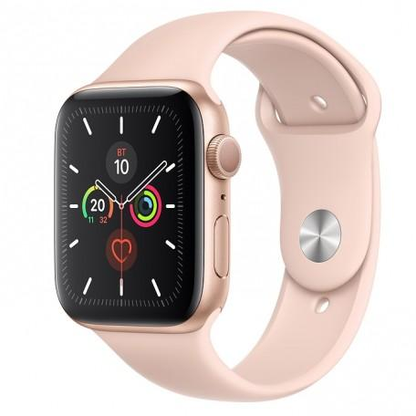 Apple Watch Series 5 44mm Gold Aluminium Case with Pink Sand Sport Band (MWVE2)