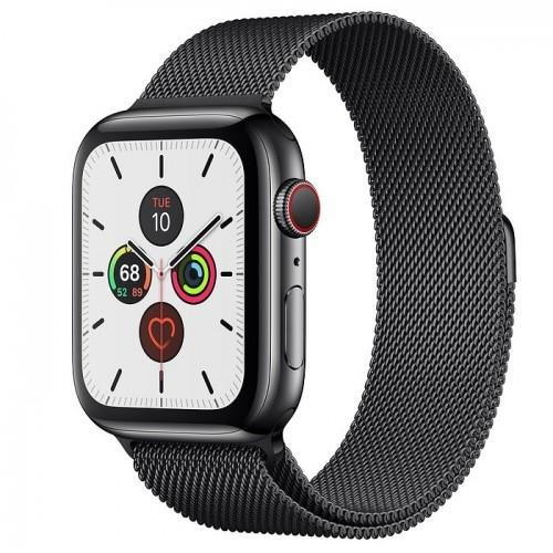 Apple Watch Series 5 44mm GPS+LTE Space Black Stainless Steel Case with Space Black Milanese Loop (MWW82, MWWL2)