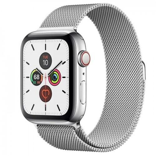 Apple Watch Series 5 44mm GPS+LTE Stainless Steel Case with Silver Milanese Loop (MWW32)