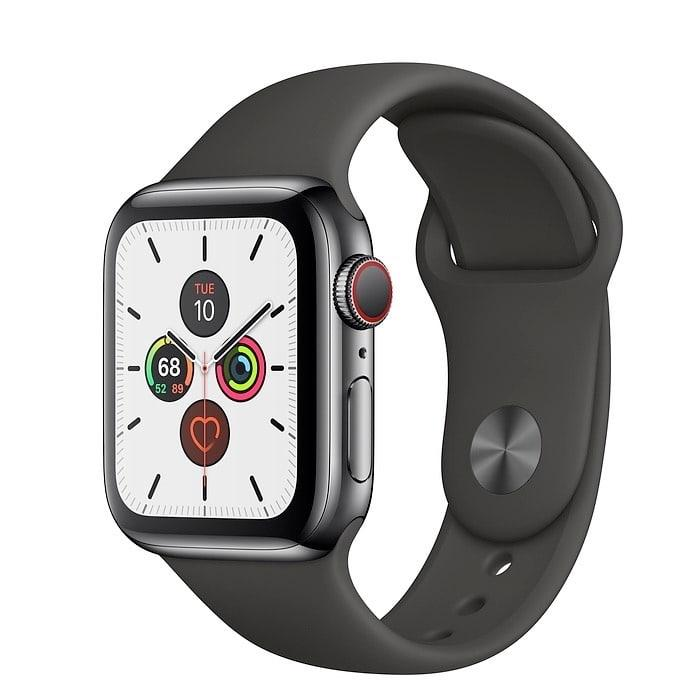 Apple Watch Series 5 40mm GPS+LTE Space Black Stainless Steel Case with Black Sport Band (MWWW2)