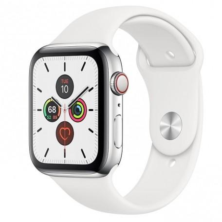 Apple Watch Series 5 44mm GPS+LTE Stainless Steel Case with White Sport Band (MWW22, MWWF2)