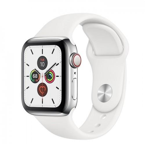 Apple Watch Series 5 40mm GPS+LTE Stainless Steel Case with White Sport Band (MWX42)
