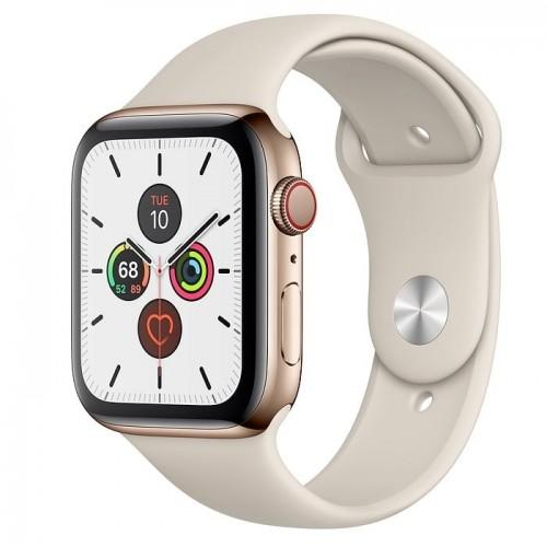 Apple Watch Series 5 44mm GPS+LTE Gold Stainless Steel Case with Stone Sport Band (MWW52)