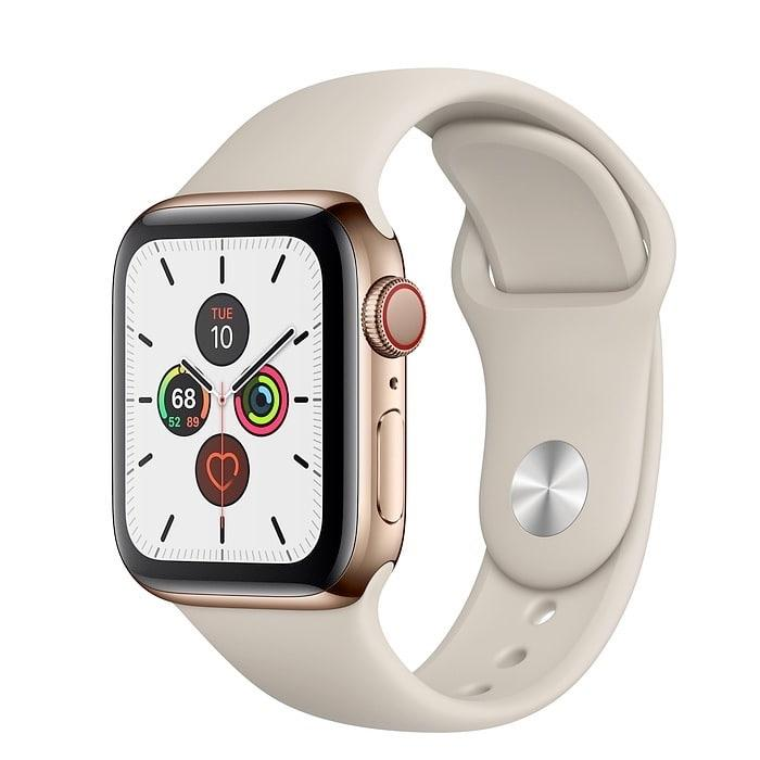 Apple Watch Series 5 40mm GPS+LTE Gold Stainless Steel Case with Stone Sport Band (MWX62)