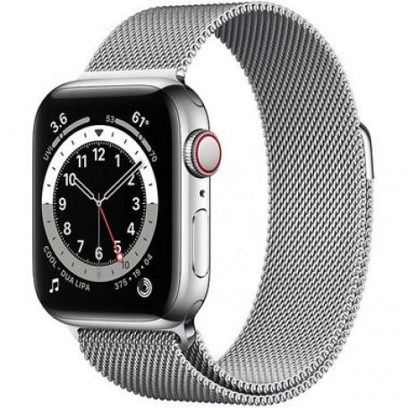 Apple Watch Series 6 40mm GPS+LTE Silver Stainless Steel Case with Silver Milanese Loop (M02V3)
