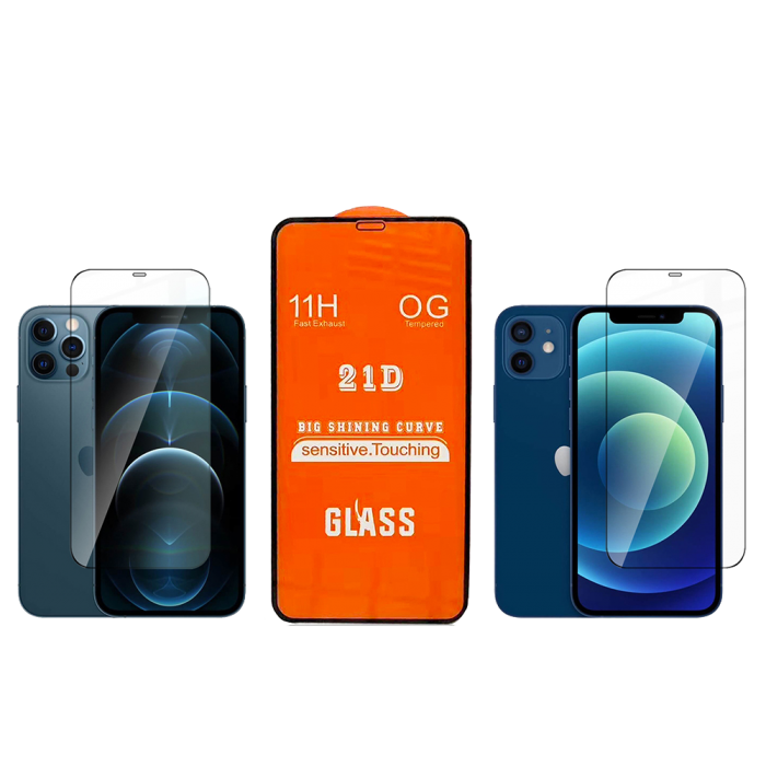Tempered Glass для iPhone 12/12 Pro Full Cover 21D[Black]